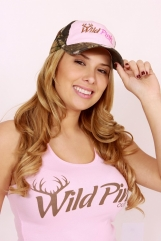 Ladies Frayed Camo & Pink Cap